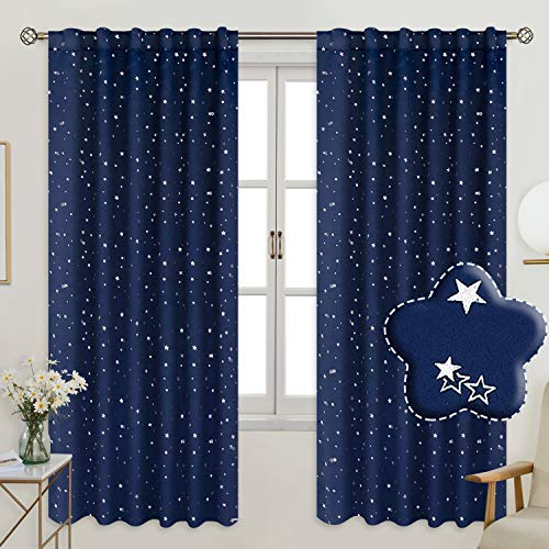 BGment Rod Pocket and Back Tab Blackout Curtains for Kids Bedroom - Sparkly Star Printed Thermal Insulated Room Darkening Curtain for Nursery, 52 x 63 Inch, 2 Panels, Navy Blue