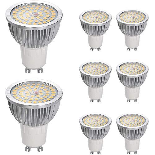 Vicloon GU10 Lampadine LED, Faretto LED GU10 6W Equivalenti a 60 W Lampadine Alogene, Luce Bianca Naturale Calda 2700k 550LM, AC85-240V Lampadine Non Dimmerabile, Confezione da 8