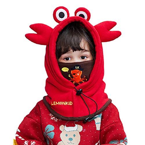 TRIWONDER Children Balaclavas Hat Kids Boys Girls Winter Warm Windproof Ski Snow Face Mask Caps Hood Cover Thermal Adjustable Neck Warmer (Red - Crab)