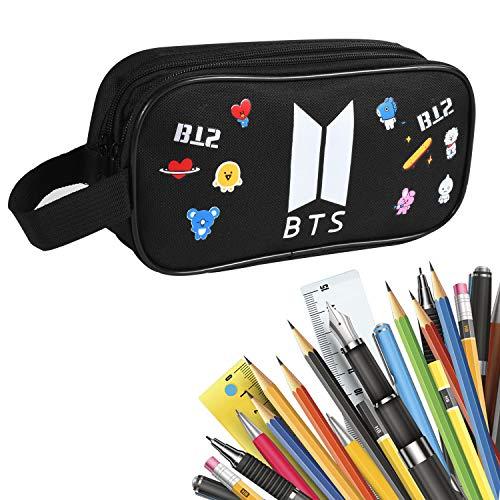 Trousse à Crayons Grande Capacité,Trousse BTS,Sac à Crayons BTS avec Poignée, Sac de Papeterie pour étudiant ou Sacs à cosmétiques