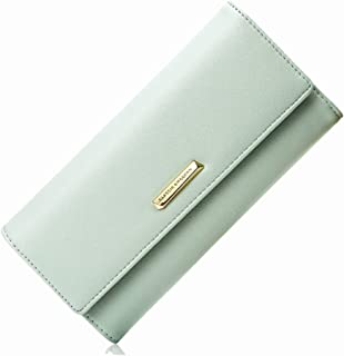 Pusaman New Women's Clutch, Long Section Clutch Bag, Multi-Folded Wallet Card (Color : Green, Size : 19 * 9.5 * 3cm)