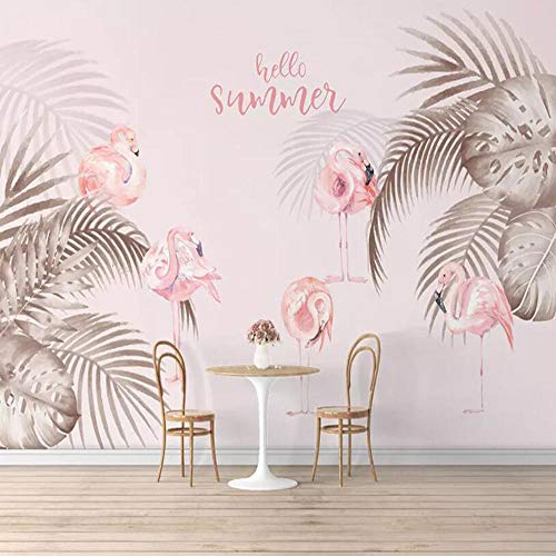 Behang 3D Muur muurEenvoudig Moderne TV Bank Achtergrond Muur Papier Roze Flamingo Woonkamer Slaapkamer Wandbekleding Bladeren Behang Mural 350cm×256cm