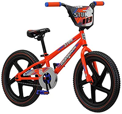 Mongoose Stun Freestyle BMX Bike for Kids, 18-Inch Wheels, Blue/Orange