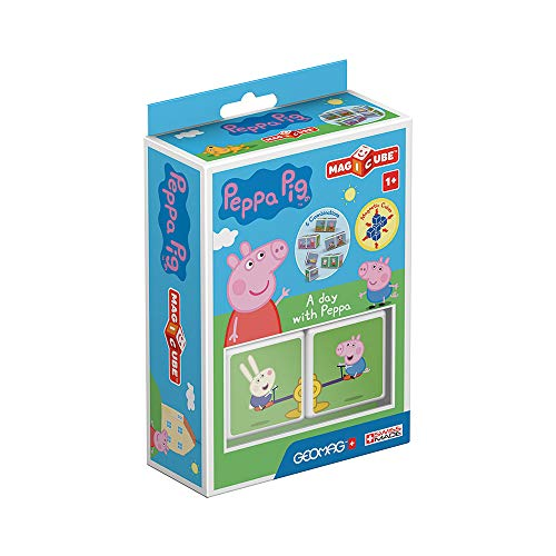 Geomag MagiCube 048 Peppa Pig - A day with Peppa - Constructions Magnétiques et Jeux Educatifs, 2 Cubes Magnétiques