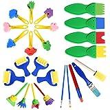 Niños Esponja Pintura Cepillos Set, Juego de Pinceles de Pintura de Esponja Esponja de Pintura Cepillo de Pintura de Niños Kit Reutilizables Aprendizaje Temprano para DIY Arte Artesanía (25Pcs)