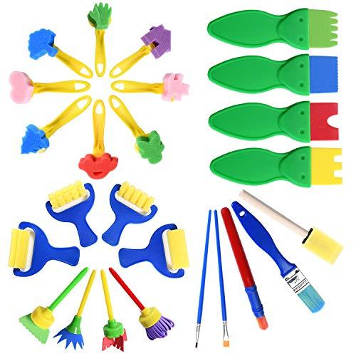 Niños Esponja Pintura Cepillos Set, Juego de Pinceles de Pintura de Esponja Esponja de Pintura Cepillo de Pintura de Niños Kit Reutilizables Aprendizaje Temprano para DI
