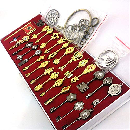 TOPCOMWW 29pcs/Set Fairy Tail Lucy Cosplay Key Keychain Scale & Free Pink Tattoo Sign of The Zodiac Gold Key Pendants