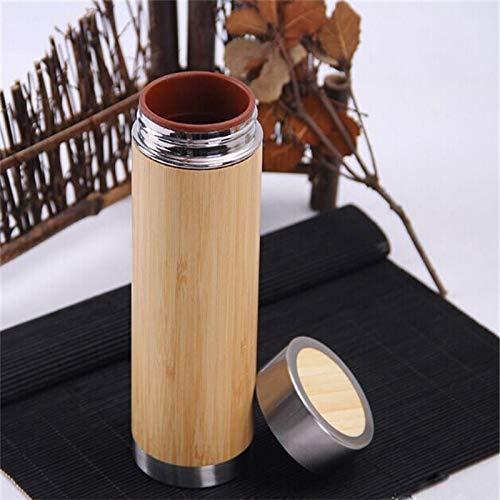 WXX Botella Creativo de bambú Termo de Acero Inoxidable Frasco de vacío, la vesícula biliar Interno: Arcilla púrpura (280 ml) (Color : 360ml)