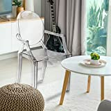 Magshion Set of 4 Modern Ghost Dining Side Chair with Arms in Transparent Crystal Clear