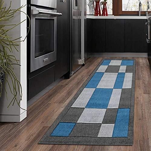 B&B Carpets & Rugs - 60 X 220 cm long Runner Rug for Hallway Home Office Floor Mat Heavy Duty Non Slip Mat Washable Carpet Runner Kitchen Rugs - Dark grey blue