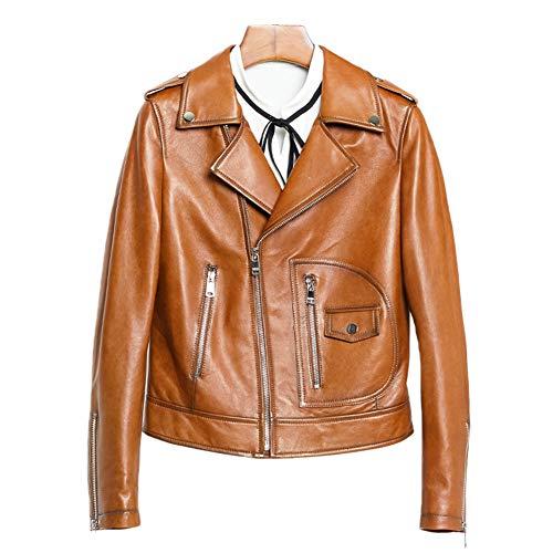 HUIGE Damen Echtlederjacke mit mehreren Reißverschlüssen, Lammfell-Echtledermantel, schmal, kurz, Motorradjacke, Bikerjacke, Kleidung, gelb, XL