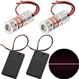 CTRICALVER 2pcs láseres lineales Módulo láser enfocable de 650 nm enfoque láser lineal nivel láser ajustable rojo 3-5V con lente de plástico + 2pcs AA soportes para baterías