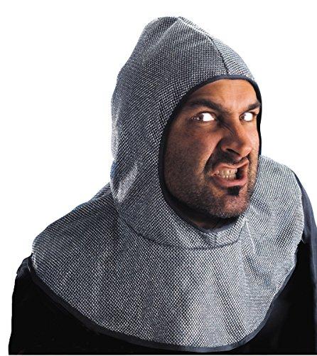 Cappuccio da cavaliere finta maglia metallo Medioevo