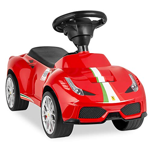 Best Choice Products Kids Licensed Ferrari 458 Ride On Push Car w/ Steering Wheel, Horn, Red