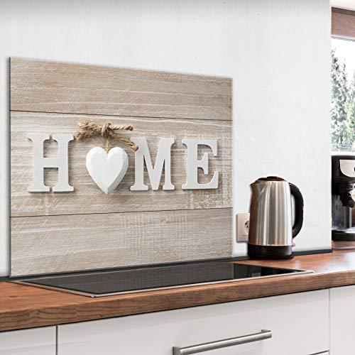 murando Paraschizzi in Vetro per Cucina Pannello Paraspruzzi per Piano Cottura Pannello per Parete Decorazione Grafica 80x60 cm Home Legno m-B-0056-aq-e