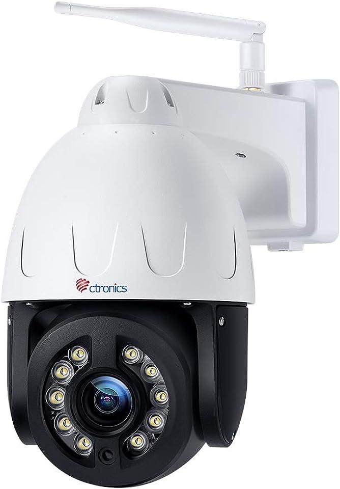 Ctronics 5MP PTZ Überwachungskamera Aussen WLAN, 4X Optischer Zoom Dome WiFi IP Kamera Outdoor, Mensch Bewegungsmelder, Automatische Verfolgung, 50m Farbige Nachtsicht, 2-Wege-Audio, IP66 Wasserdicht