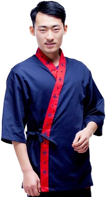 Hombres Chef Coat Mangas 3/4 cocinar Camisa Kimono Cocina ...