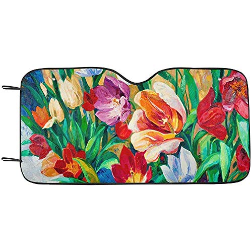 Zome Lag Beautiful Vase or Bowl of Fresh Flowers Front Windshield Sun Shades,Accordion Folding Auto Sunshades for Car Truck SUV S