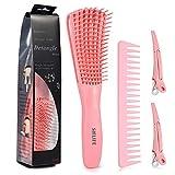 Detangler Brush Set, Detangle Hair Brush for Women Girls Wet Dry Afro 3a to 4c Thick Frizzly Wavy...