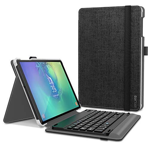 INFILAND Funda con Teclado para Samsung Galaxy Tab A 10.1 Pulgadas 2019 (T510/T515)-Equipada con un Teclado Bluetooth inalámbrico español-Carcasa de Material de PU-Negro