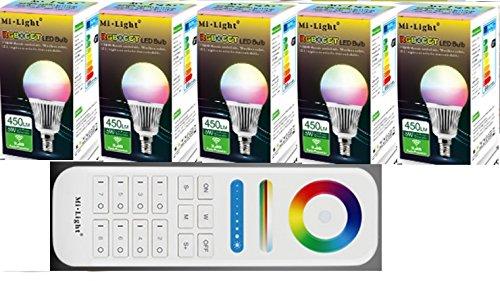 5x FUT013 6Watt E14 RGB+CCT Birne 1x Fut089 8Zonen FB 2,4G original MILIGHT¨ Produkt