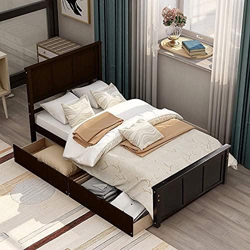 Cama de plataforma con almacenamiento, estructura de cama individual...