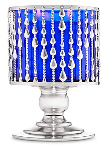 White Barn Bath and Body Works 3-Wick Candle Pedestal Holder Sleeve Silver Beaded Look