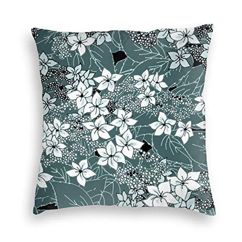 Hydrangea In Morning Mist - Funda de almohada cuadrada de terciopelo para sofá, cama, dormitorio, sofá, 45,7 x 45,7 cm