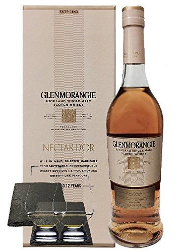 Glenmorangie 12 Jahre The Nectar d'Or 0,7 Liter + 2 Glencairn Gläser + 2 Schieferuntersetzer quadratisch ca. 9,5 cm