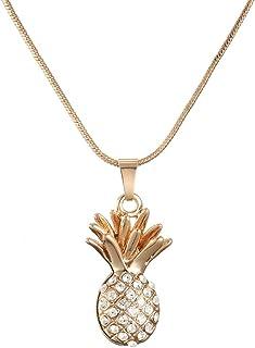 Ouran - Collana lunga da donna, con ciondolo a forma di ananas, idea regalo per ragazze, in oro o argento, con cristalli CZ