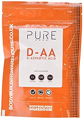 Bodybuilding Warehouse Pure DAA - D-Aspartic Acid Supplements Powder Unflavoured, White, 100 Gram