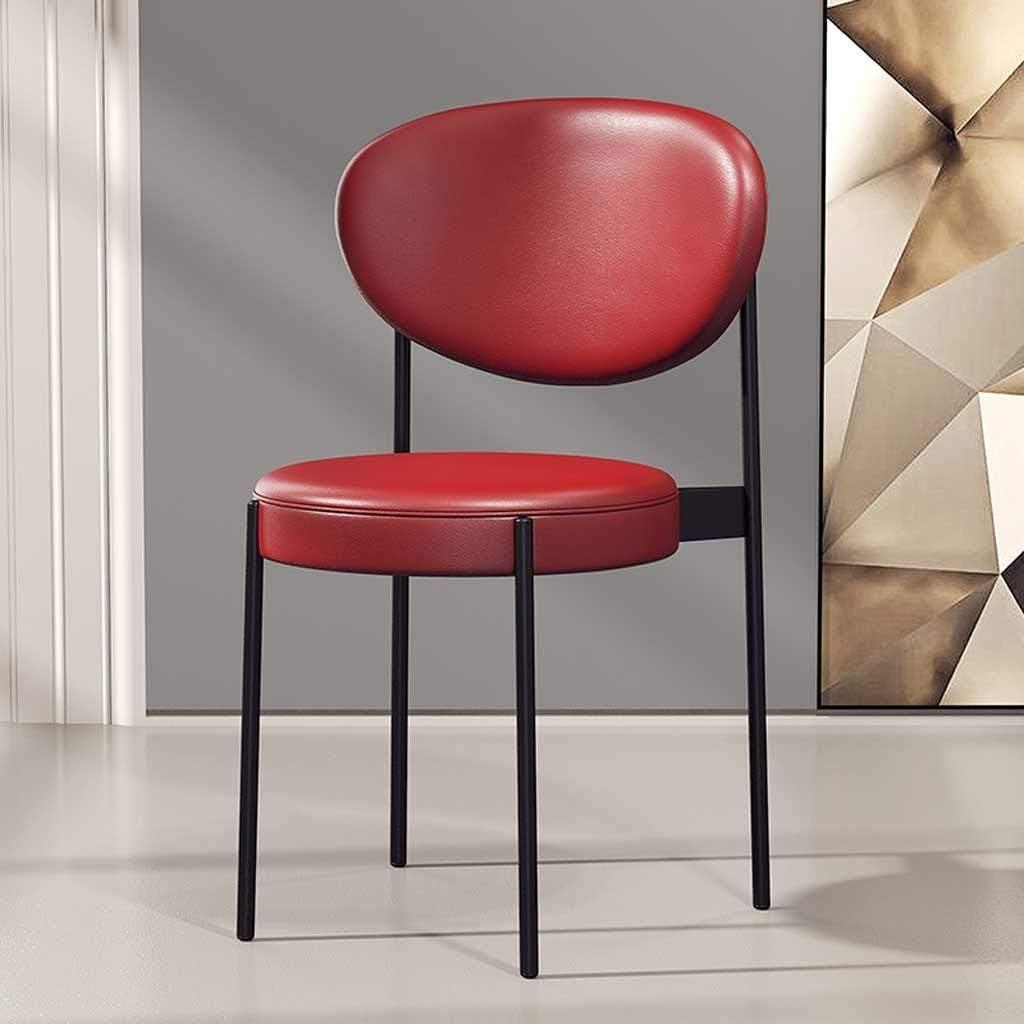 Aoyo Chaise rembourrée en Similicuir avec Pieds en métal Noir Dressing Lounge Accueil Chaises Café Chambres Salon (Color : Dark Green) Red