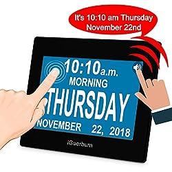 iGuerburn Digital Talking Alarm Clock (2nd Gen) Audible Calendar Date and Time Settings Store 8 Real-Time Notifications Kids Adults Seniors Dementia Alzheimer's Touchscreen (Black)