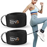SKANG DUKE Fitness Padded Ankle Straps for Cable Machines for Kickbacks, Glute Workouts, Leg Extensions Exercise,and Hip Abductors, Adjustable Neoprene Ankle Cuff (Black, 2pcs with Net Bag)