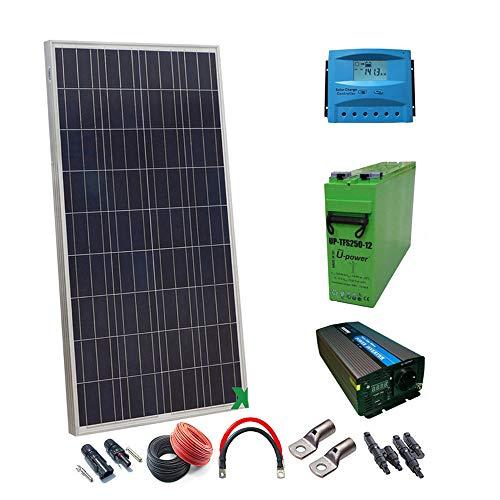 Zonne-set 12 V, 300 Wh/1500 W, complete accu, omvormer, zonnepaneel, kabelregelaar