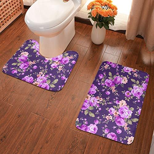 John J Littlejohn Non Slip Rose Flower Motif Bathroom Antiskid Pad Bathmat Waterproof Bath Carpet Floor Rug 2 Pieces Bath Mat + Contour