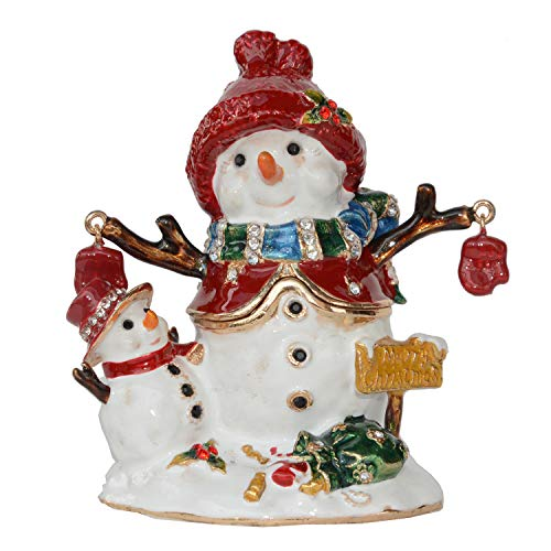 Minihouse Snowman Christmas Trinket Box Hinged Hand-Painted Figurine Collectible Ring Holder with Gift Box