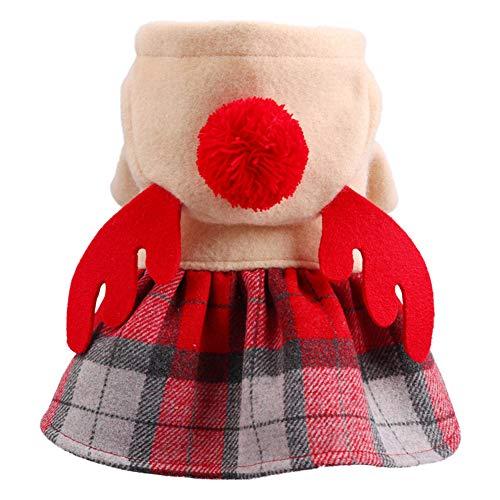 AchidistviQ Navidad Mascota Perro Disfraz De Elfo Ropa para Invierno Clido Vestido De Fiesta De Navidad Capa Divertida Exhibicin Ropa-Rojo L