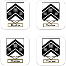 Thurlow Family Crest Square Coasters Coat of Arms Coasters - Set of 4