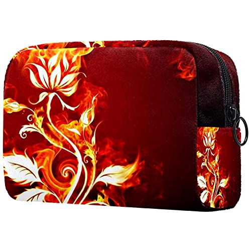 Kosmetiktasche Multifunktionale Makeup Tasche Reise Tragbare Verfassungsbeutel Waschtasche Münzbeutel mit Reißverschluss für Kosmetika Feuerblumen Pflanzen 18.5x7.5x13cm