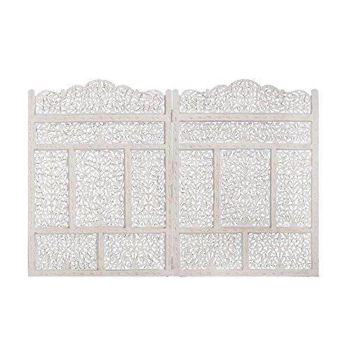 D,casa - Mural de madera natural cabecero blanco árabe para dormitorio Arabia