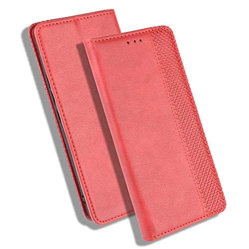 GOGME Leder Hülle für Oppo Reno4 5G Hülle, Premium PU/TPU Leder Folio Hülle Schutzhülle Handyhülle, Flip Hülle Klapphülle Lederhülle mit Standfunktion und Kartensteckplätzen, Rot