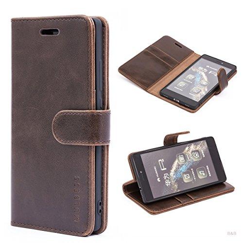 Mulbess Handyhülle für Huawe P8 Hülle Leder, Huawe P8 Handy Hüllen, Vintage Flip Handytasche Schutzhülle für Huawe P8 Case, Kaffee Braun