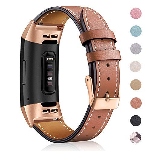 Mornexband kompatibel Fitbit Charge 3 Strap/Charge 3 SE Lederband, klassisch verstellbares Ersatz-Armband Fitness-Zubehör Metallverbinder, 06.Royal Gold-Brown, 5.5\'\'-8.1\'\'