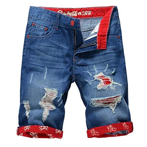 Pantalones Cortos para Hombres Pantalones Vaqueros Rectos Delgados de Gran tamaño de Color sólido Pantalones de Cinco Puntos
