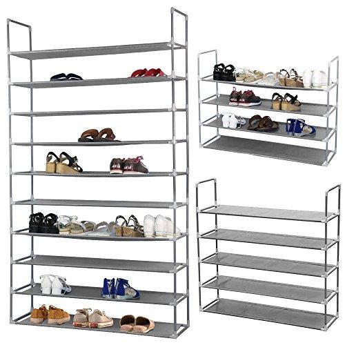 50 Pair Free Standing 10 Tier Shoe Tower Rack Storage Organizer