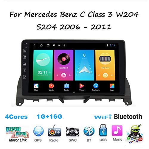 Dvd Player Auto ,Android Autoradio Auto Stereo Für Mercedes Benz C Class 3 W204 2006~2011,Doppel Din Radio Player Spiegel Link BT Freisprechfunktion Multimedia GPS Navigation Lenkradsteuerung ,M100
