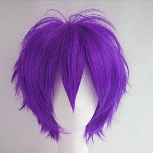 Parrucca Viola Corta Parrucche Cosplay Capelli Sintetici Uomo/Donna Vari Colori per Carnevale Party Festa