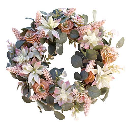 foshan Cgration Künstlicher Kranz zum Aufhängen an der Tür, Ornament, Sukkulente, künstliche Blumengirlande, Weihnachten, Zuhause, Garten, Dekoration