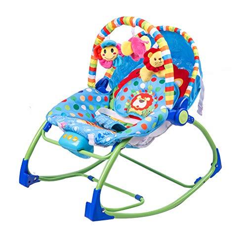 HSTD Hamaca Bebe, Multicolor Mecedora Bebe, Balancín para Bebés, Rodamiento de Peso 11KG de Bebé a Niño Pequeño con Música Barra de Juguetes Entrenador Sensorial Bebé Durante 0-12 Meses